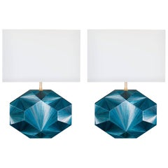 French Art Deco Inspired Straw Marquetry Lamps Designed by Jallu, Model Eloane
