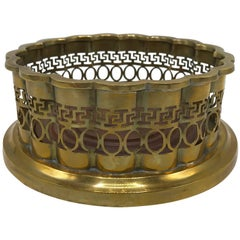 1960s Mottahedeh Brass and Walnut Wine Bottle Coaster with Greek Key Motif