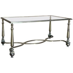 Midcentury French Louis XVI Bronze and Glass Coffee Table