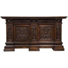 Antique Italian Renaissance Hand-Carved Walnut Buffet