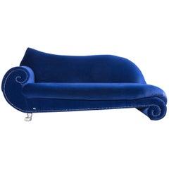 Bretz Gaudi Designer Sofa, Velours Fabric Blue Three-Seat Couch or Chaise Longue