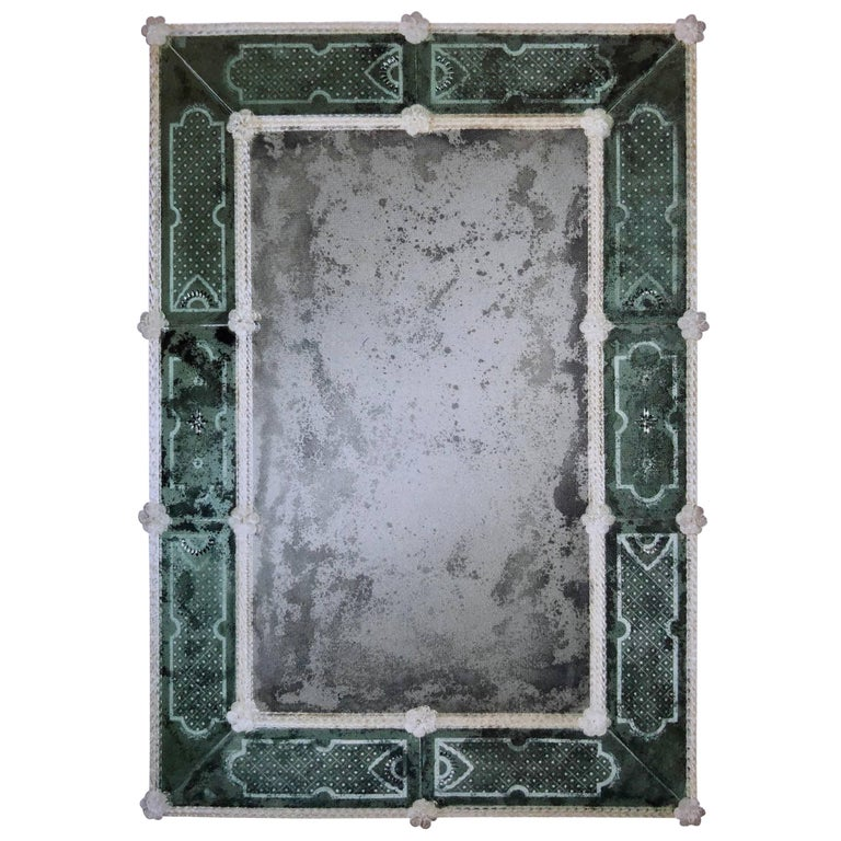 Two Italian 18 Century Style Antiqued & Etched Venetian /Murano Glass Mirror