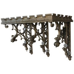 19th Century Gothic Wrought Iron Hand-Painted Wall Shelf from Chapel