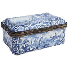 Antique Blue and White Delft Pottery Table Snuff Box or Casket
