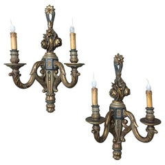 Pair of Carved Wood Hand-Painted Italian Painted and Gilded Neoclassical Sconces