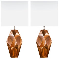French Art Deco Inspired Straw Marquetry Lamps Designed by Jallu Model Emeline