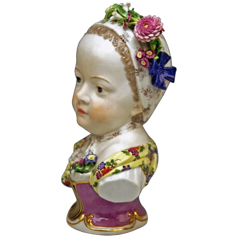Meissen Bust of a Bourbon Princess Girl Model 2744 by Kaendler, circa 1860-1870