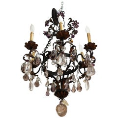 Hollywood Regency Rock Crystal Chandelier with Carved Apples and Pears