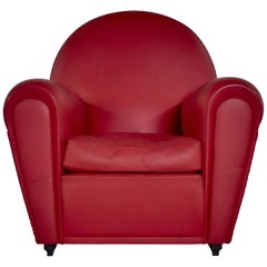 Renzo Frau Art Deco Style Red Leather Italian Fair Armchair, 1990s
