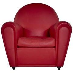 Renzo Frau Art Deco Style Red Leather Italian Fair Armchair, 1990s