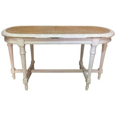 Louis XVI Style Caned and Patinated Bench