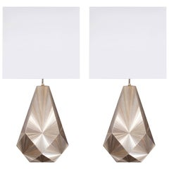 French Art Deco Inspired Straw Marquetry Lamps Designed by Jallu Model Lise