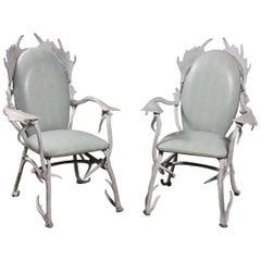 Arthur Court Antler Motif Aluminum Chairs