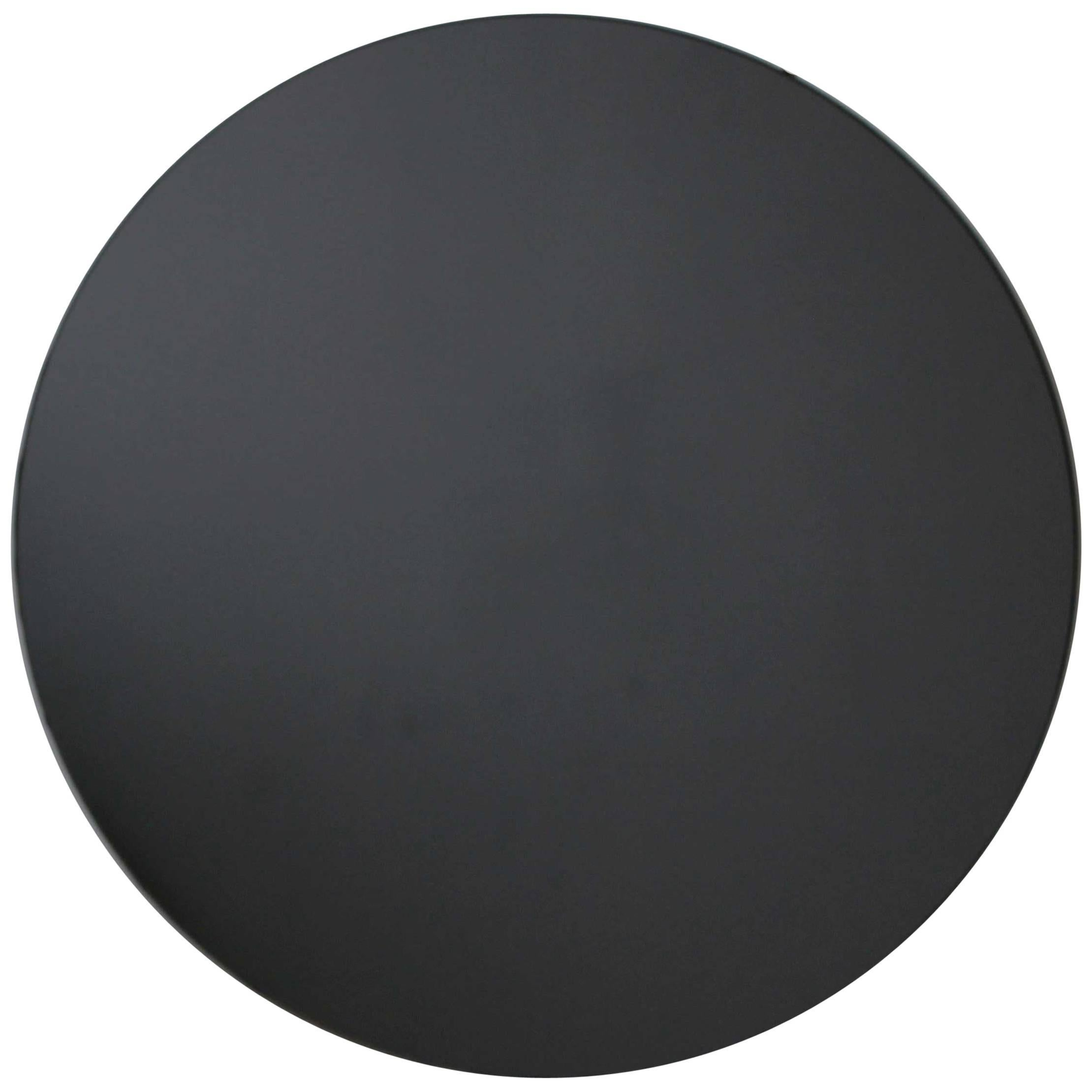 Orbis™ Black Tinted Round Frameless Contemporary Mirror - Oversized, Extra Large