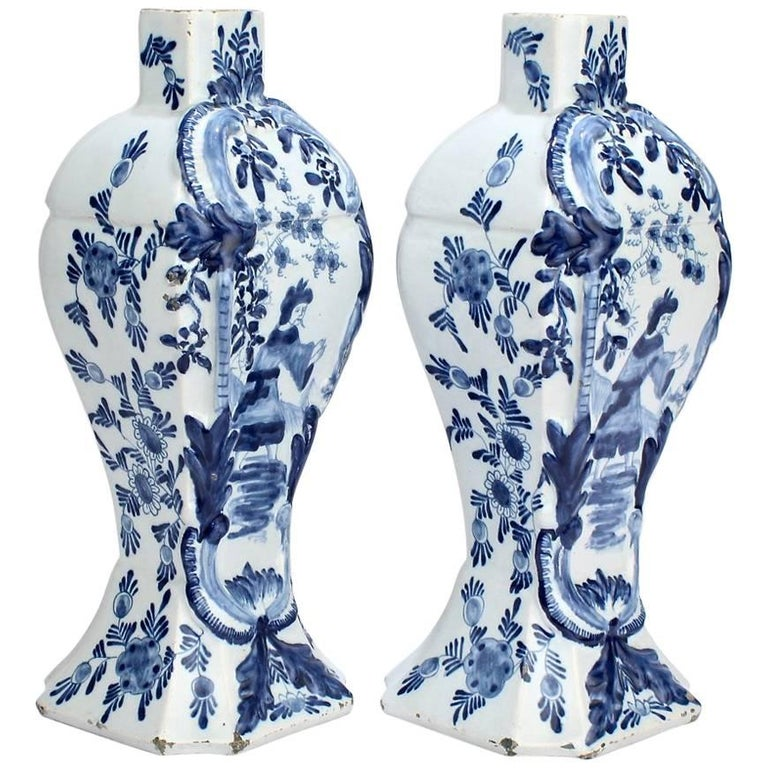 Pair of Antique Blue and White Dutch Delft Mantel Garniture Vases or Jars