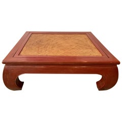 Massive Coral Red Chinese Chow Leg Coffee Table with Cane Top