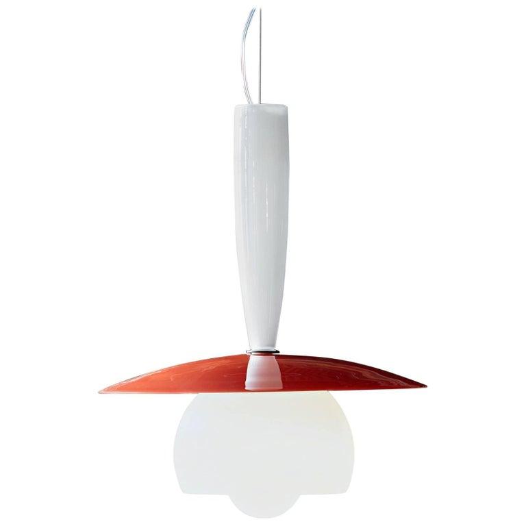 Lungomare C Suspension Lamp in Orange by Carlo Moretti For Sale