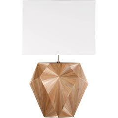 French Art Deco Inspired Straw Marquetry Lamp Designed by Jallu Model Valerie