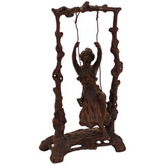 Art Nouveau Bronze Sculpture after Auguste Moreau titled 'Girl on Swing'