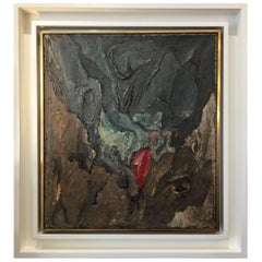 Philippe Hosiasson Original Oil on Canvas, Tache Rouge