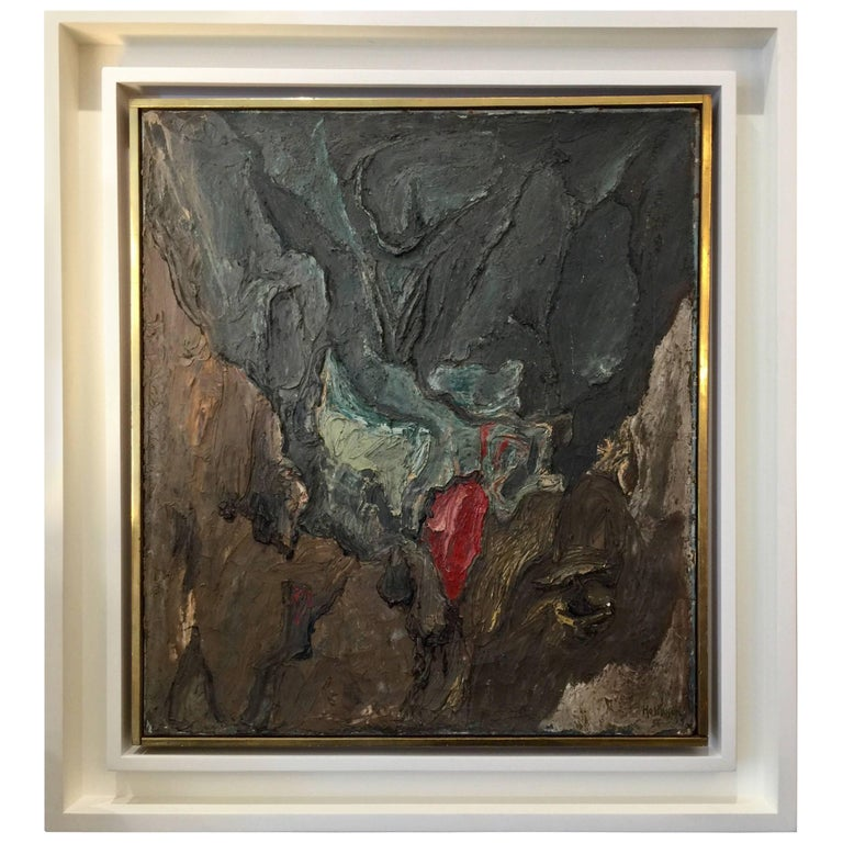 Philippe Hosiasson Original Oil on Canvas, Tache Rouge For Sale