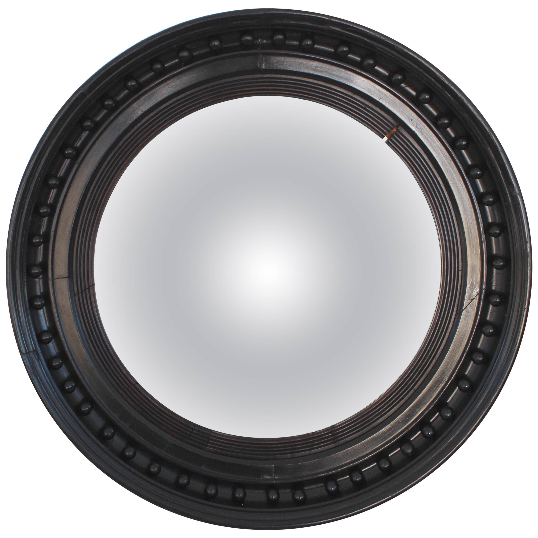 19th Century Ebonized Convex Mirror