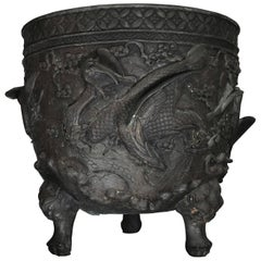 20th Century Japanese Cast Bronze Planter or Cachepot from the Meiji Period