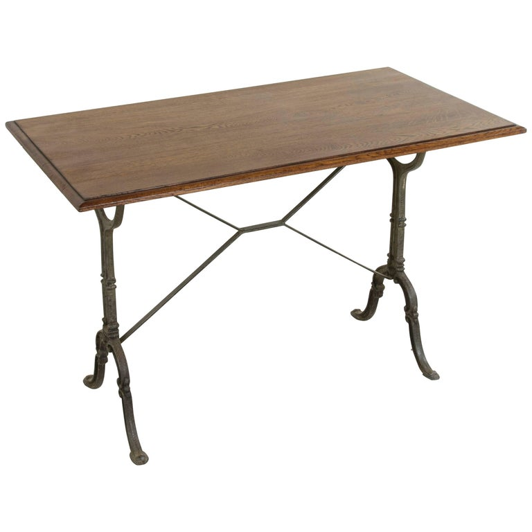 Early 20th Century French Cast Iron Bistro Table or Cafe Table with Oak Top