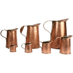 Set of Seven Antique 19th Century New York Graduated Copper Measures by B. Budde