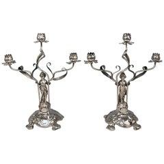 Silver Art Nouveau Pair of Candlesticks Schoellkopf Pforzheim Germany, 1900