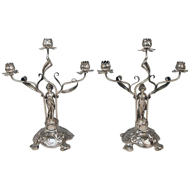 Silver Art Nouveau Pair of Candlesticks Schoellkopf Pforzheim Germany, 1900 For Sale