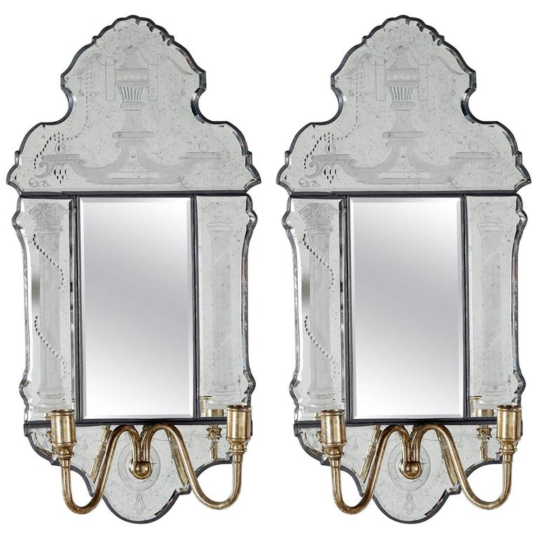 Pair of Engraved Bevelled Edge Sconces For Sale