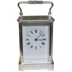 Large Silver Plated French Carriage Clock