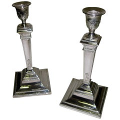 George V Triple Silver Plated Candlesticks