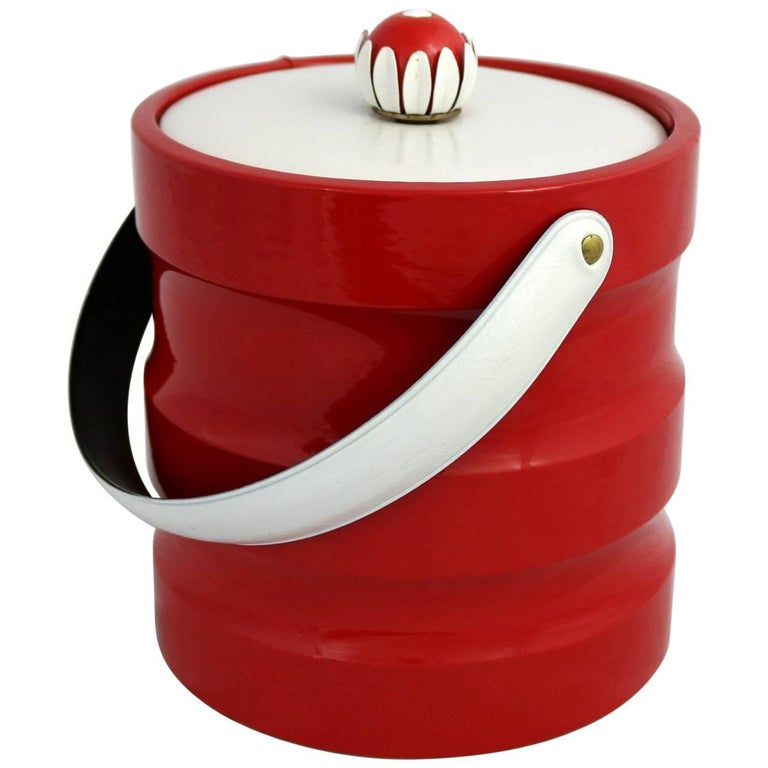 Mid-Century Modern Ice Bucket Red Faux Patent Leather White Plastic & Daisy Knob For Sale