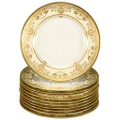 12 Lamm Dresden Arts & Crafts Raised Paste Gold & Cream Dinner Service Plates