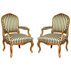 A Pair of Giltwood Louis XV Style Fauteuil a la Reine