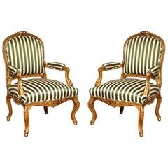 Pair of Giltwood Louis XV Style Fauteuil a la Reine