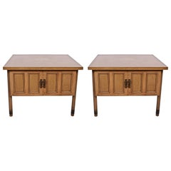 Substantial Pair of Bleached Mahogany End Tables, circa 1960