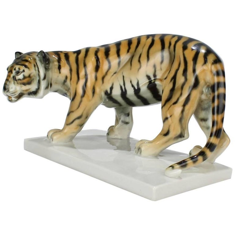 Art Deco Walking Tiger Porcelain Figurine by G. V. Döring for Schwarzburger