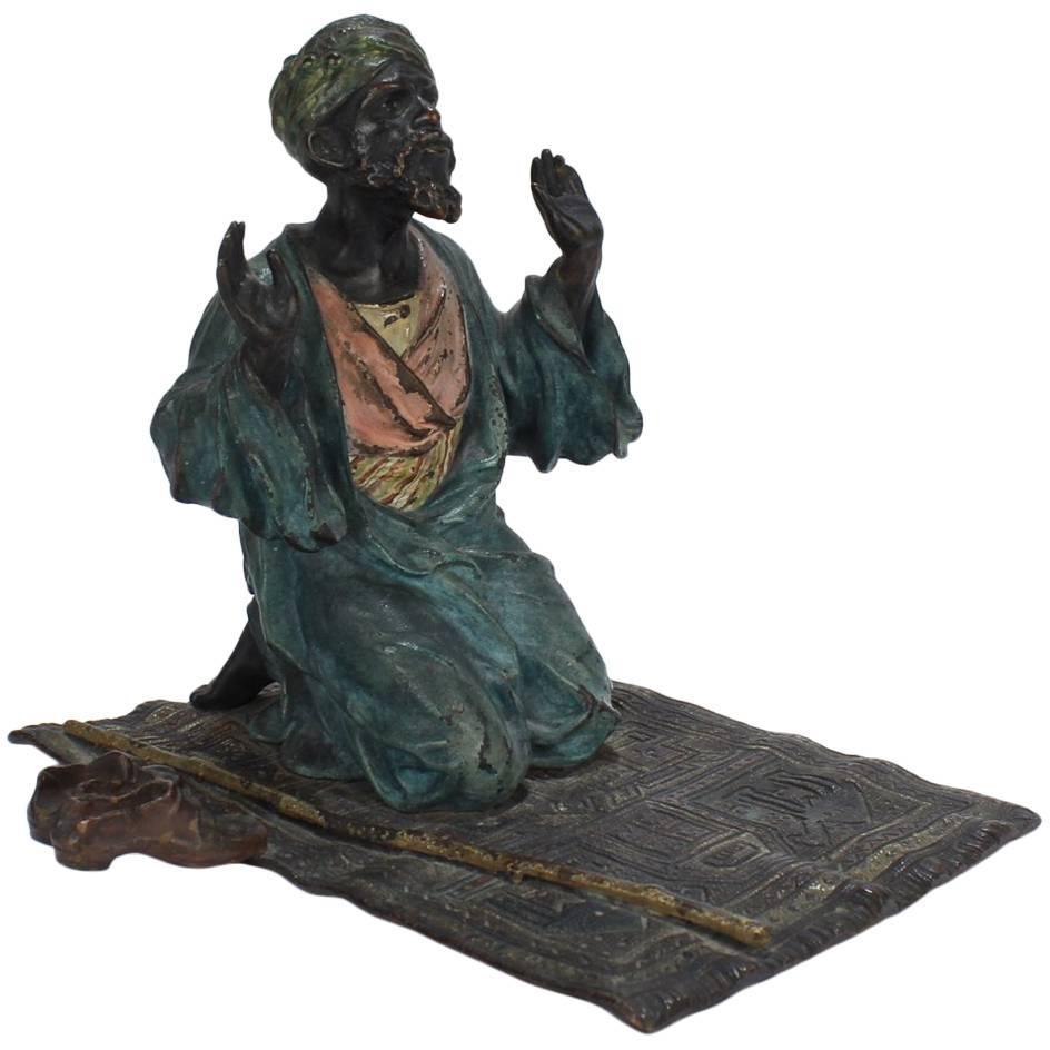 Cold Painted Orientalist Vienna Bronze of an Arab Man in Prayer by Franz Bergman