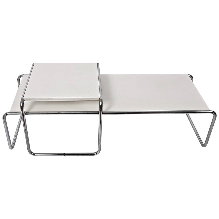 Marcel Breuer White Laminated Wood and Steel 'Laccio' Side Table, Bauhaus