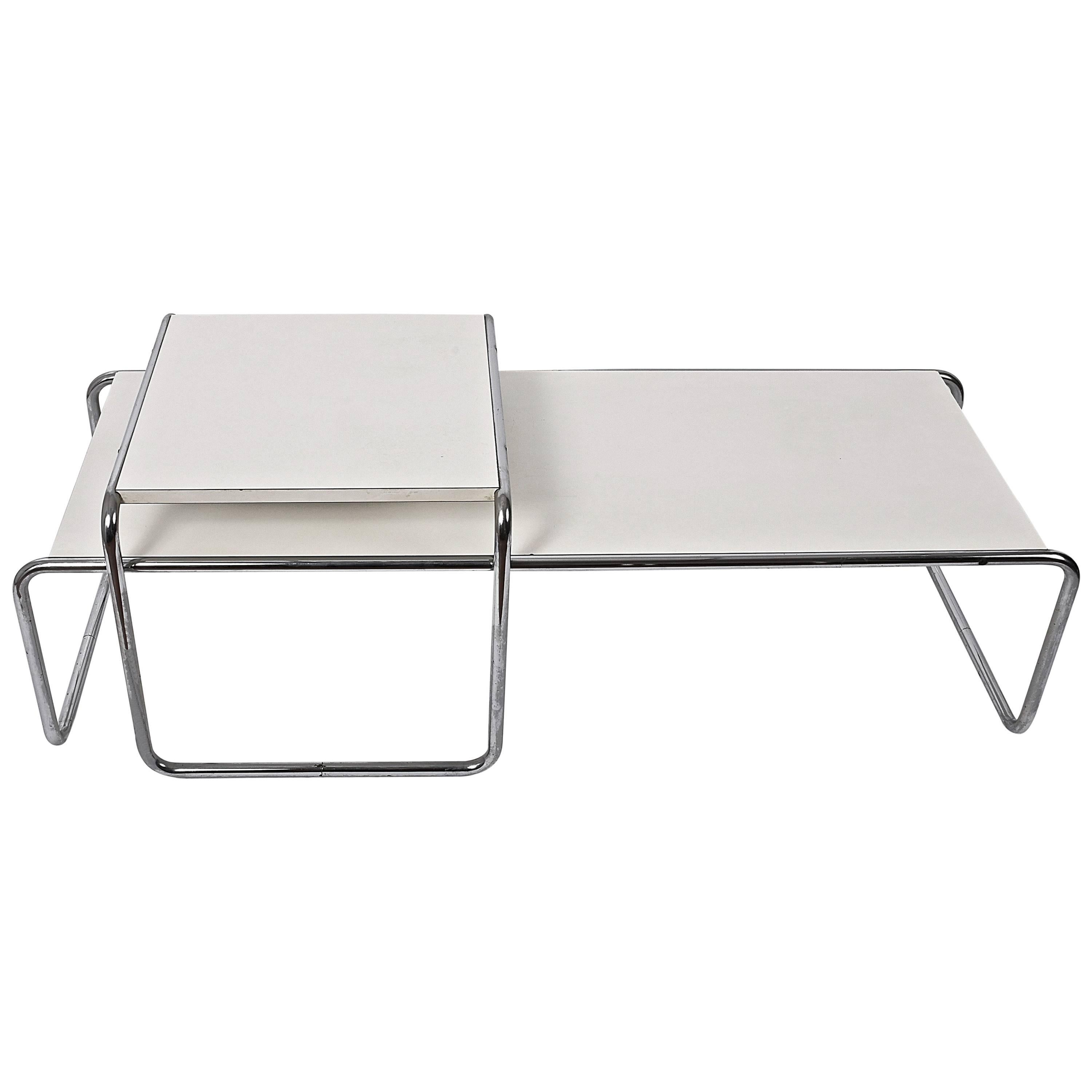 Marcel Breuer White Laminated Wood And Steel U0027Lacciou0027 Side Table, Bauhaus