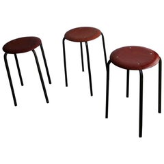Three Stackable Elegant Stools with Molded Plywood and Rosewood Venner Seat