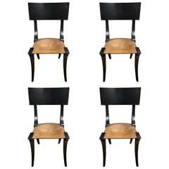 Set of Four Black Painted Klismos Chairs, 20th Century