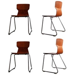 Set of Four Plywood with Rosewood Veneer in a Chrome Base Stylish Chairs