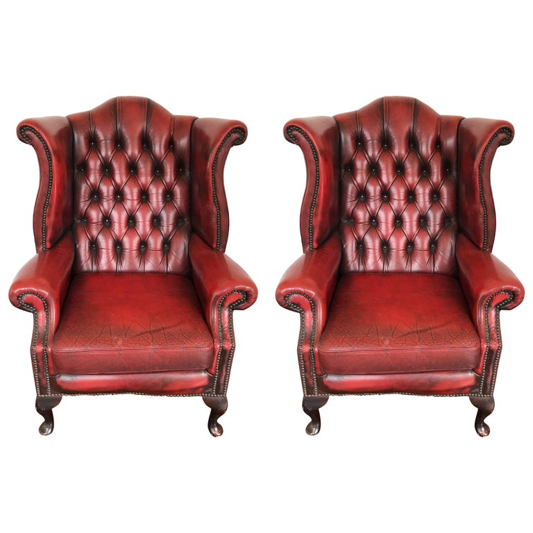 Pair of Hand Dyed Red Leather Wingback Chairs