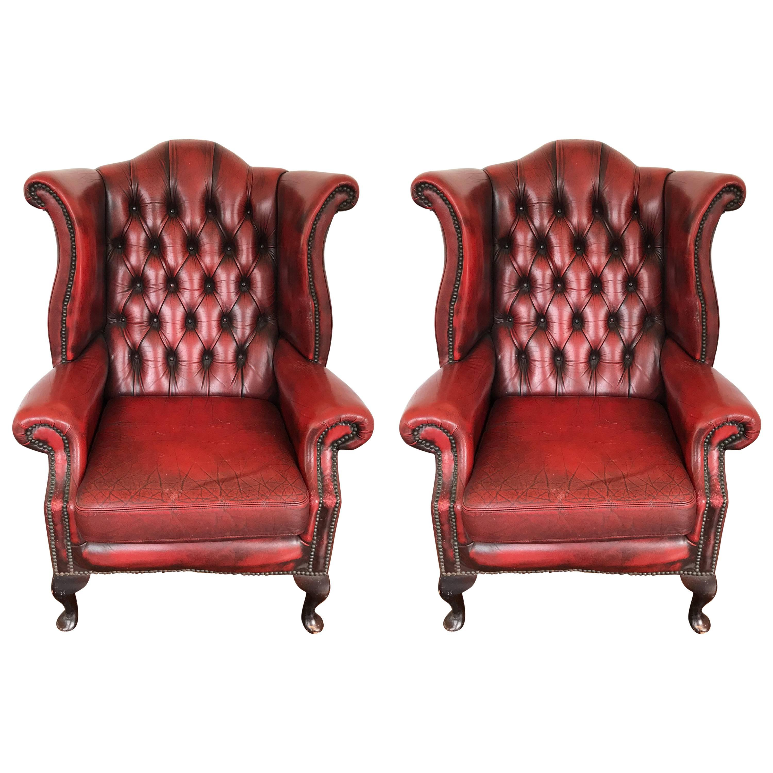 Amazing Pair Of Hand Dyed Red Leather Wingback Chairs
