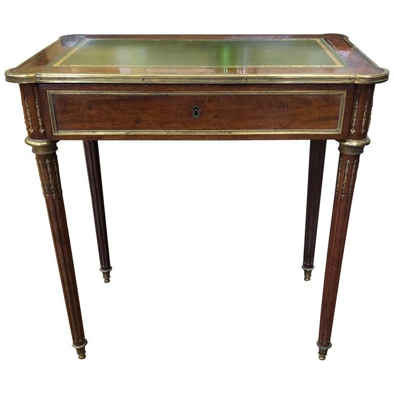 Louis XVI Style Brass Inlaid Mahogany Desk, 20th Century