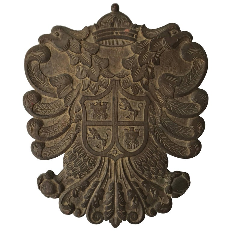 Antique Carved Wood Crest